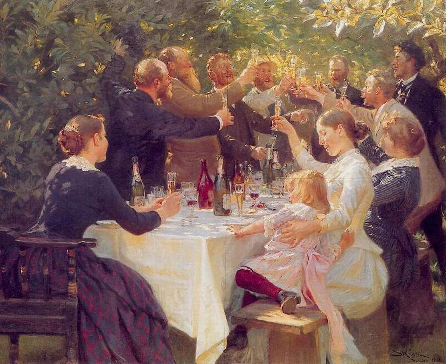 """En av grunnene til at Danskene er lykkeligere enn oss nordmenn er deres sans for det gode liv, gode måltid, sammenkomster og lignende. Som her fra; """"Hip Hip Hurra! Kunstnerfest på Skagen"""" av Peder Severin Krøyer fra 1880årene."""