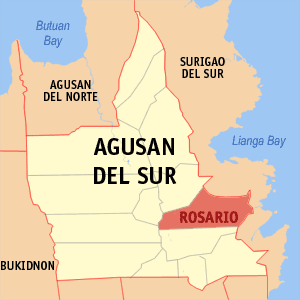 Map of Agusan del Sur showing the location of Rosario