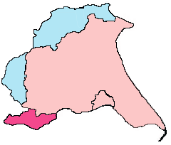 East Riding of Yorkshire boundaries – historic riding (pink and blue), modern county (pink & red)