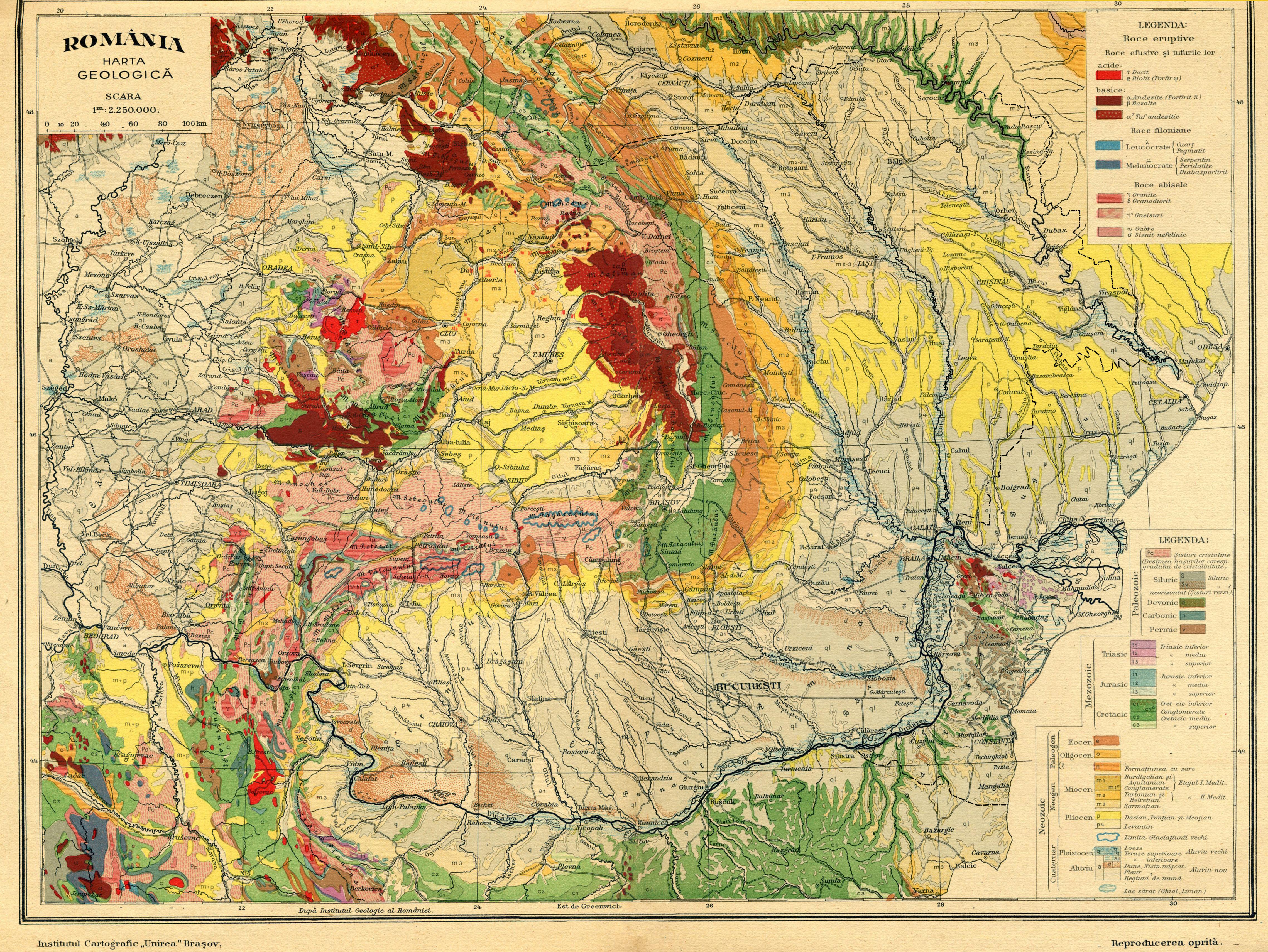 Harta geologica a Romaniei