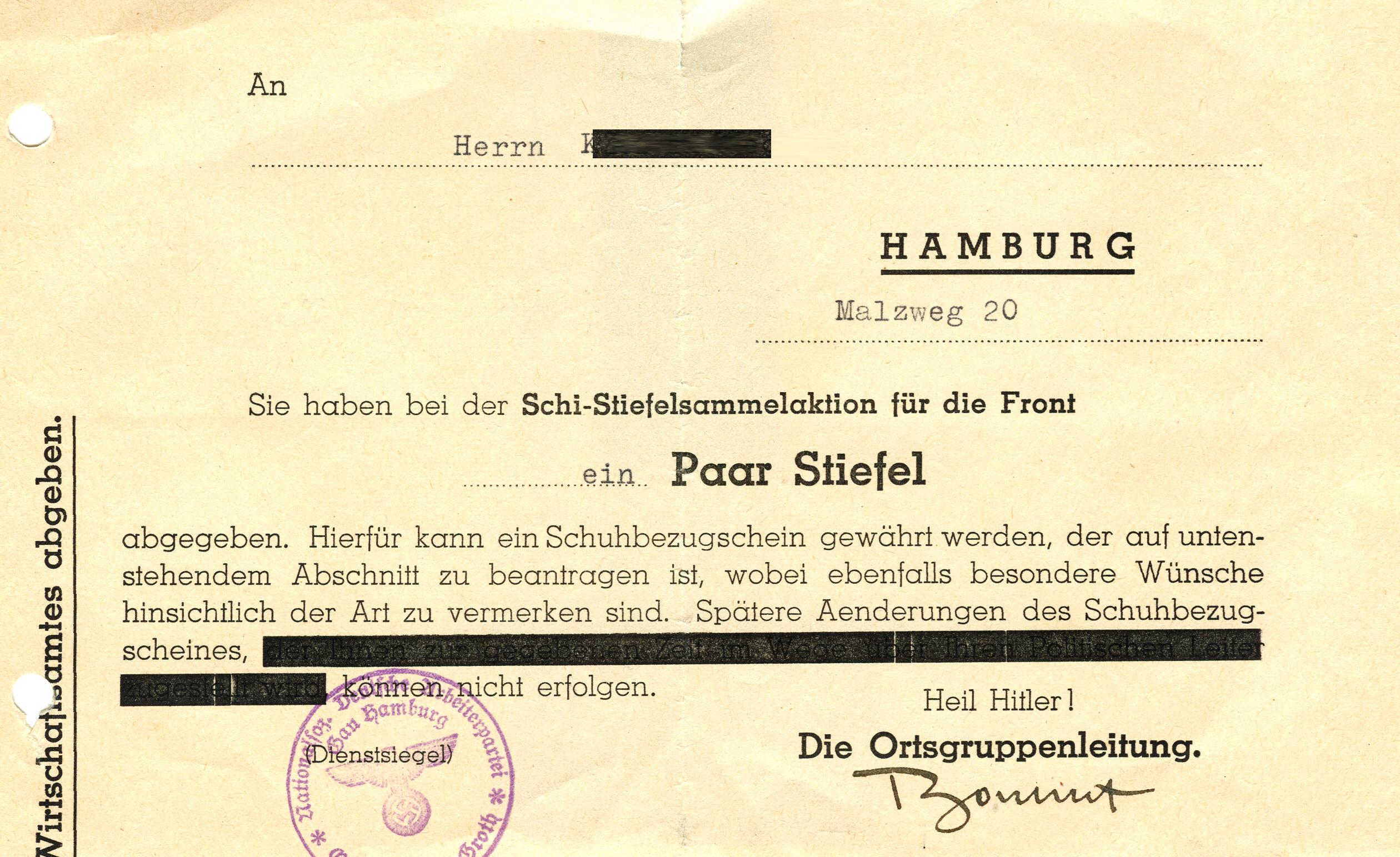 Schi-Stiefelsammlung für die Front, 1943, NSDAP