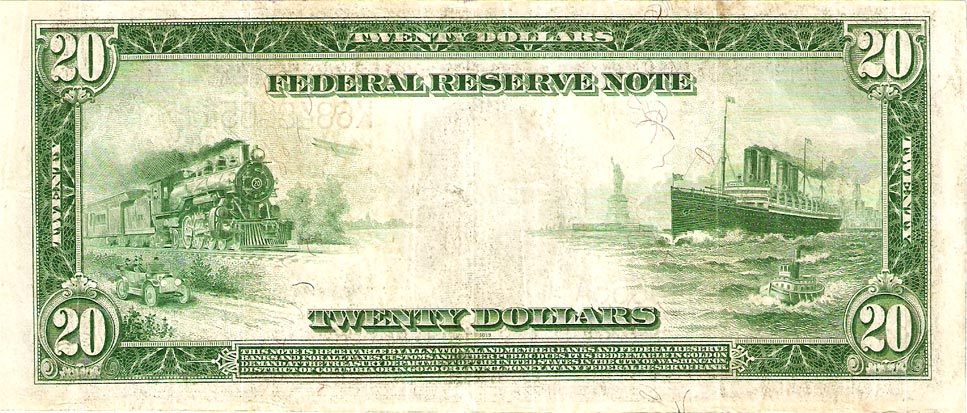 File:Series 1914 Twenty Dollar Note Reverse jpg - Wikimedia