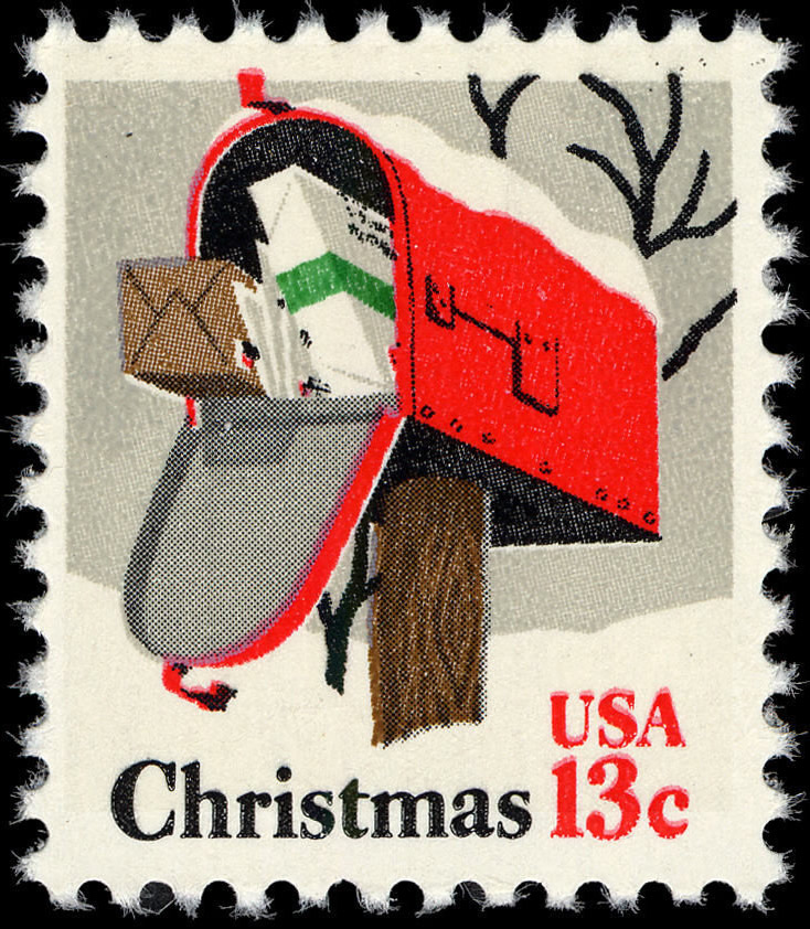 1977 US Christmas postage stamp depicting a mail box issued on October 21, 1977