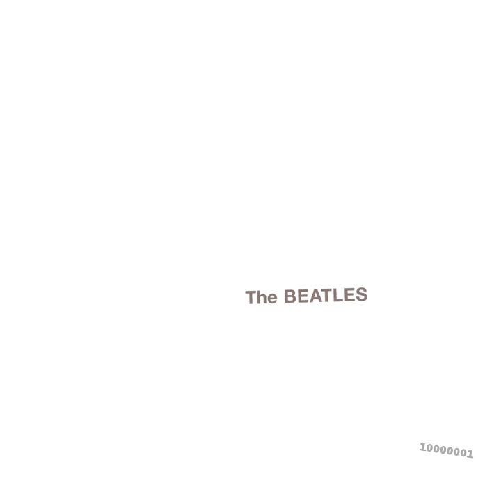 "The words ""The Beatles"" embossed on a plain white background, with a serial number in the lower right"