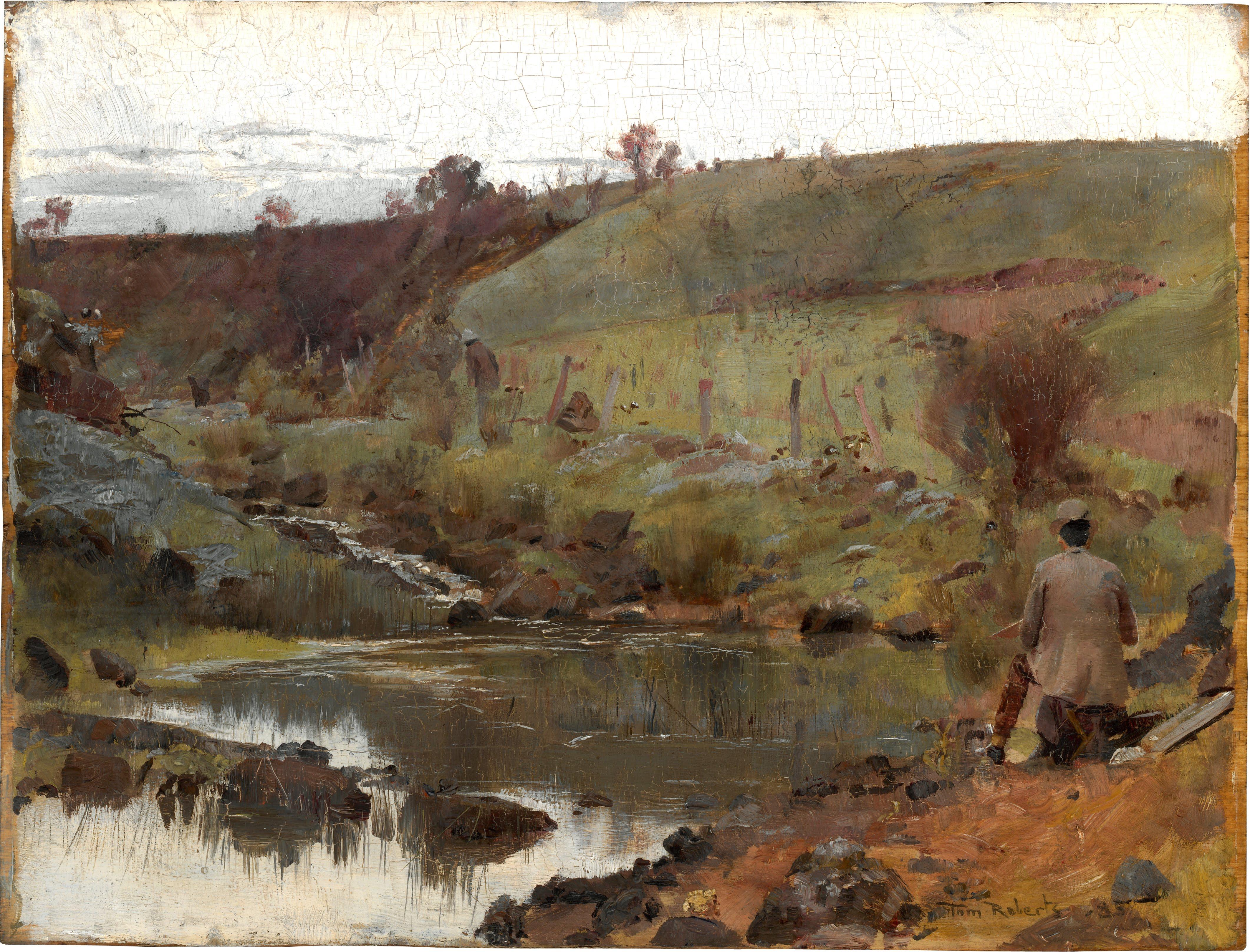 File tom roberts a quiet day on darebin creek google for Australian mural artists