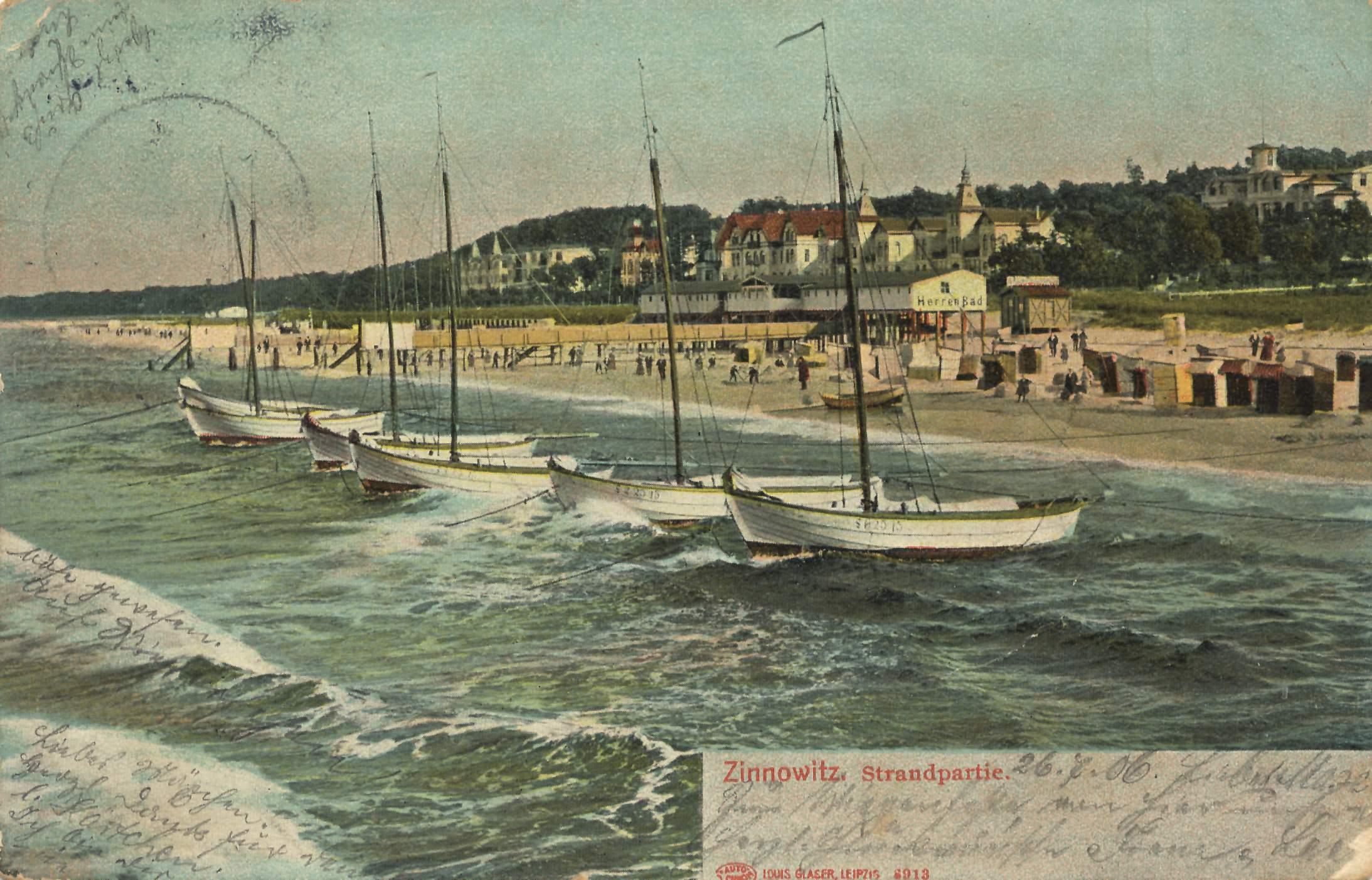 Postkarte von 1906: Zinnowitz, Strandpartie