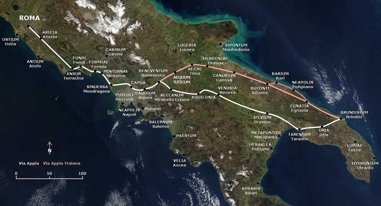 Image result for Via Appia Map