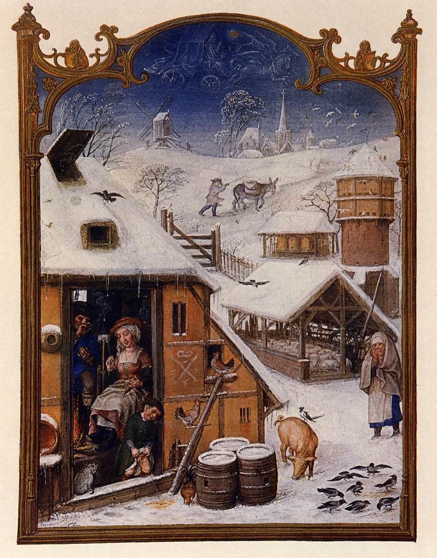 Der Februar im Breviarium Grimani, 15. Jh.: Eine tief verschneite Landschaft, häusliche Tätigkeiten in der geheizten Stube.