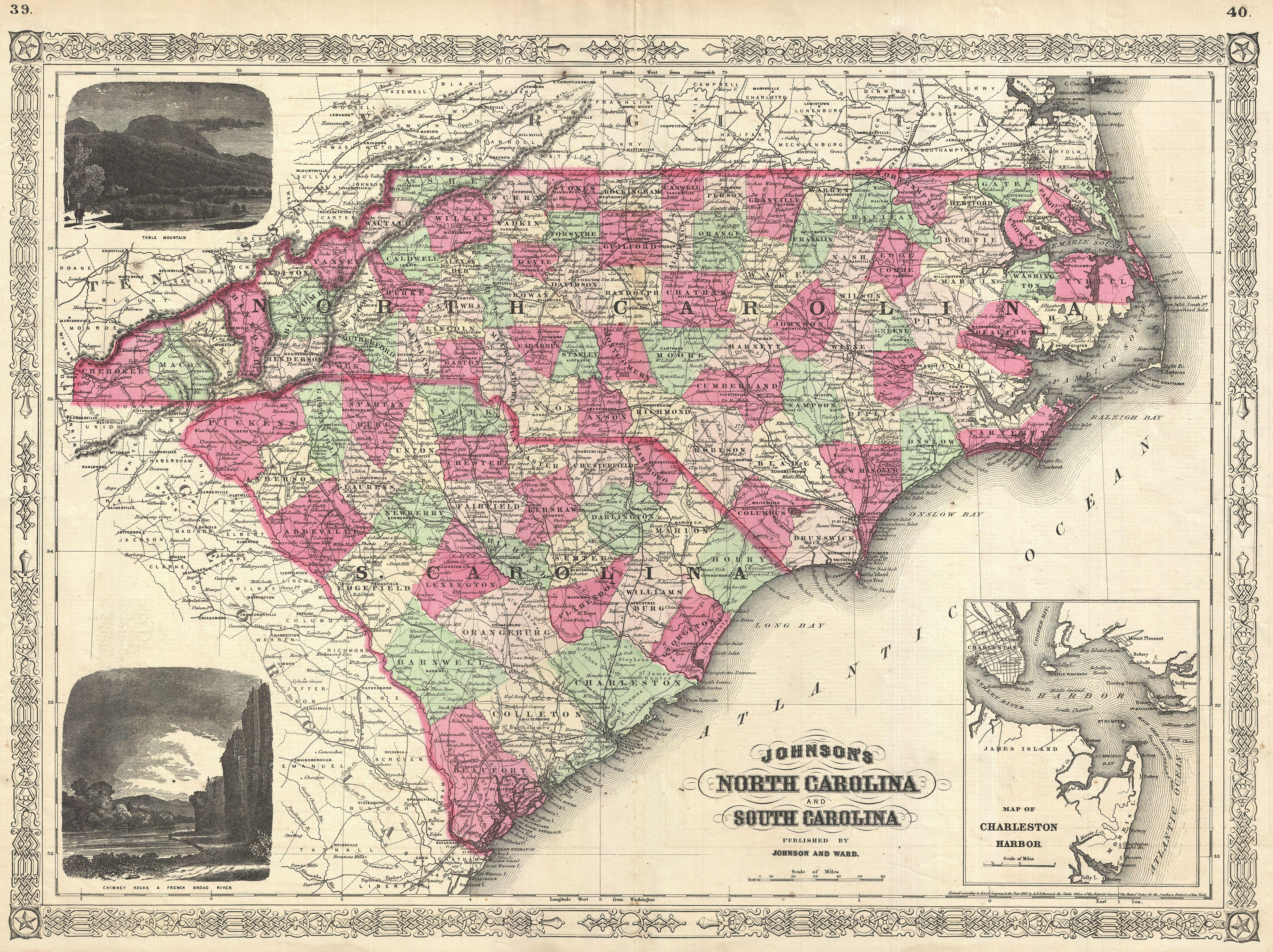 File1866 Johnson Map Of North Carolina And South Carolina