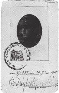 کارت شناسایی لودویگ ویتگنشتاین در دوران حضورش در جنگ اول جهانی