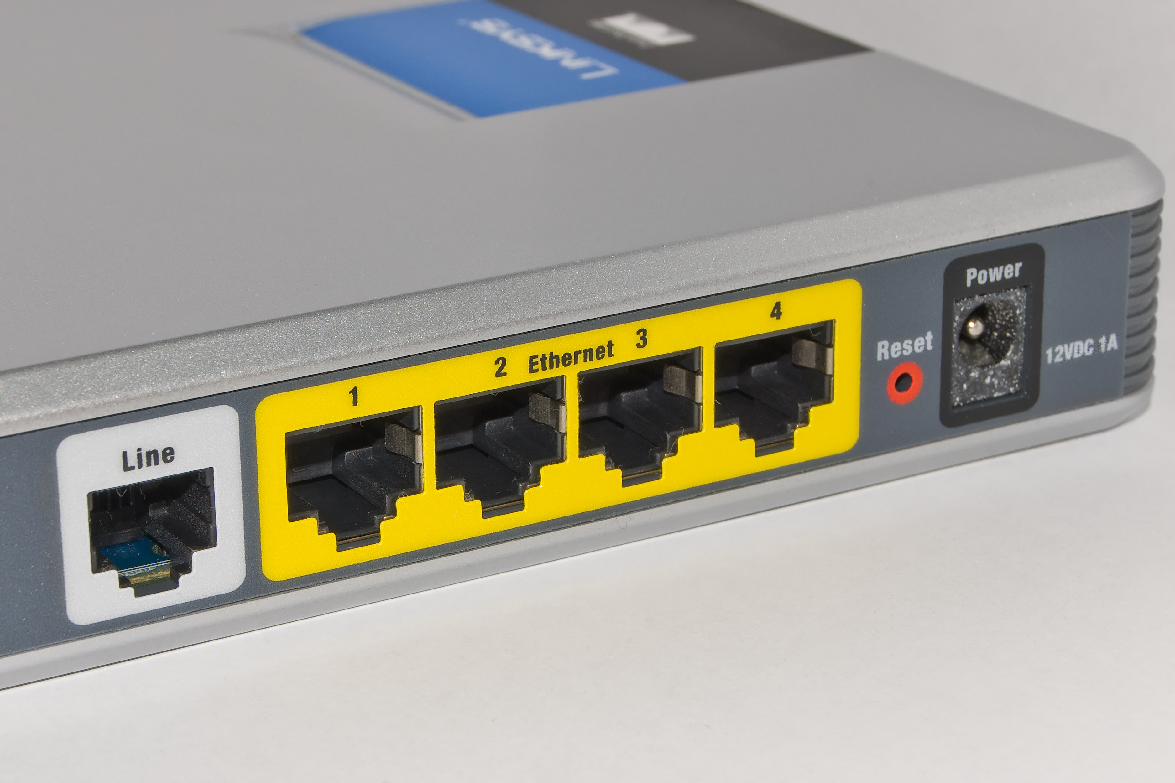 A photograph of a home router