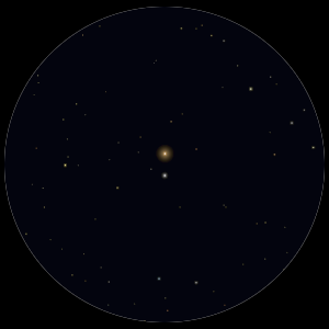 Algieba, in Leo, a beautifully multi-colored double star.