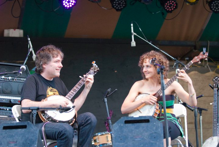 Bela Fleck and Abigail Washburn play a duet at Shakori Hills Festival in 2010.
