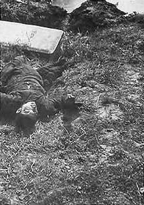 A boy killed by a Japanese soldier with the butt of a rifle because he did not take off his hat