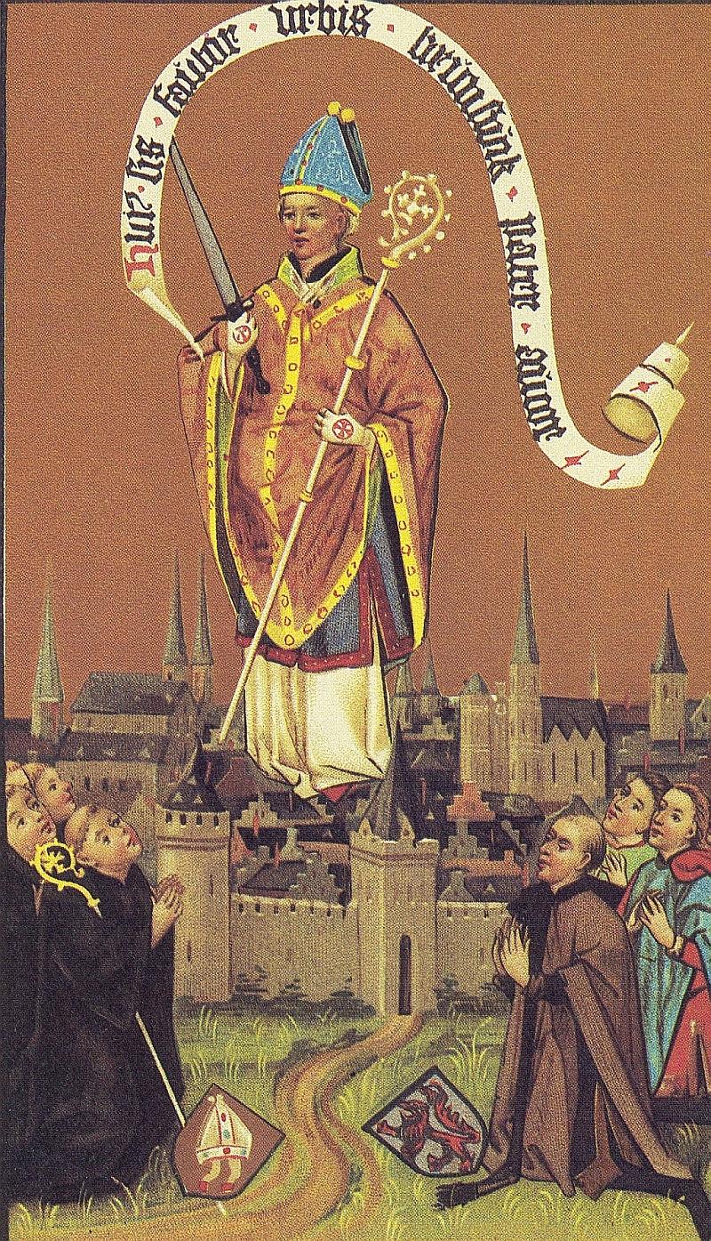 Fra abbed Bertolds kronikk: Den middelalderlige byen Braunschweig med sin skytshelgen Autor (ca 1460), i Kestner-Museum i Hannover