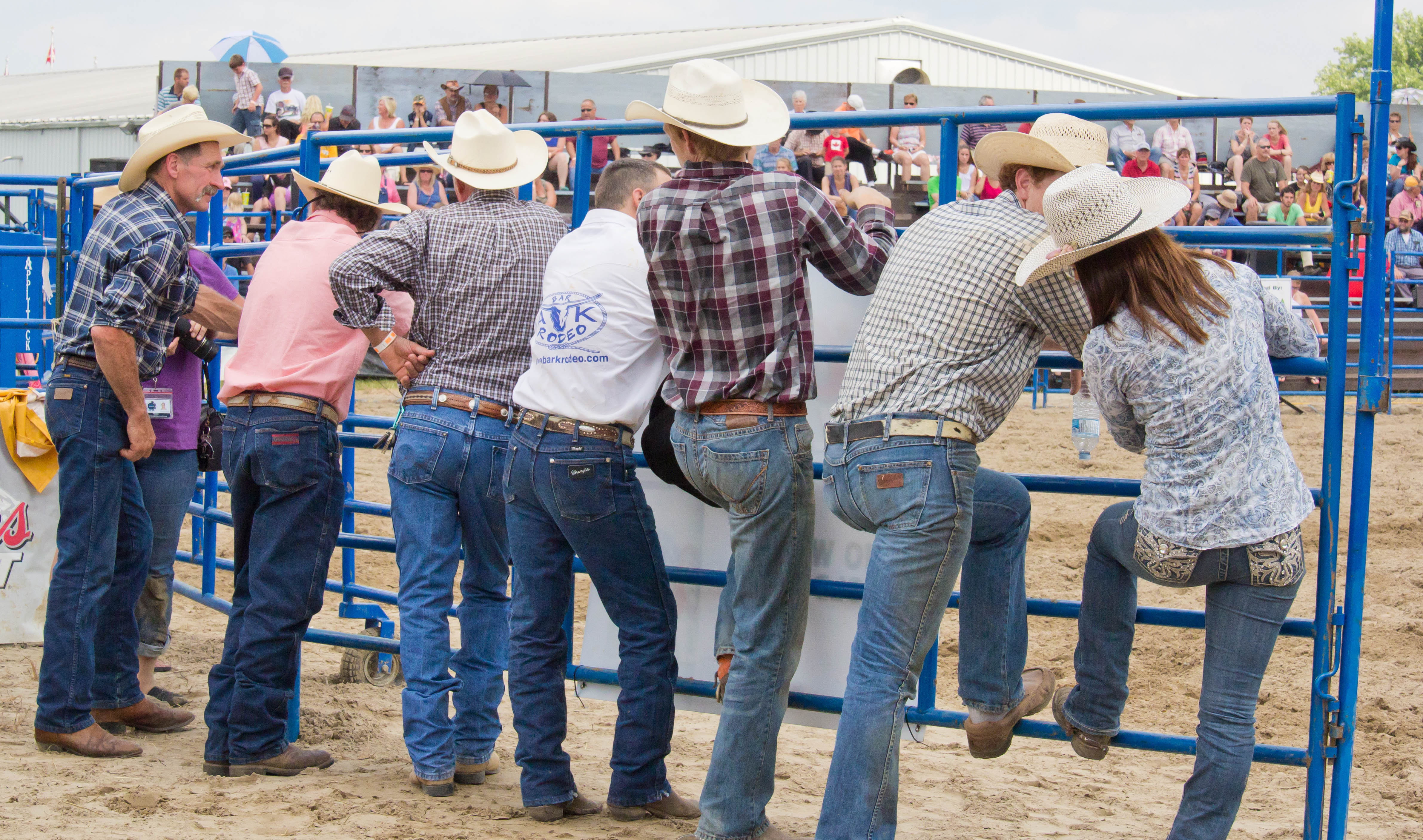 Texas Cowboys On Horseback At Fast Food Pickup