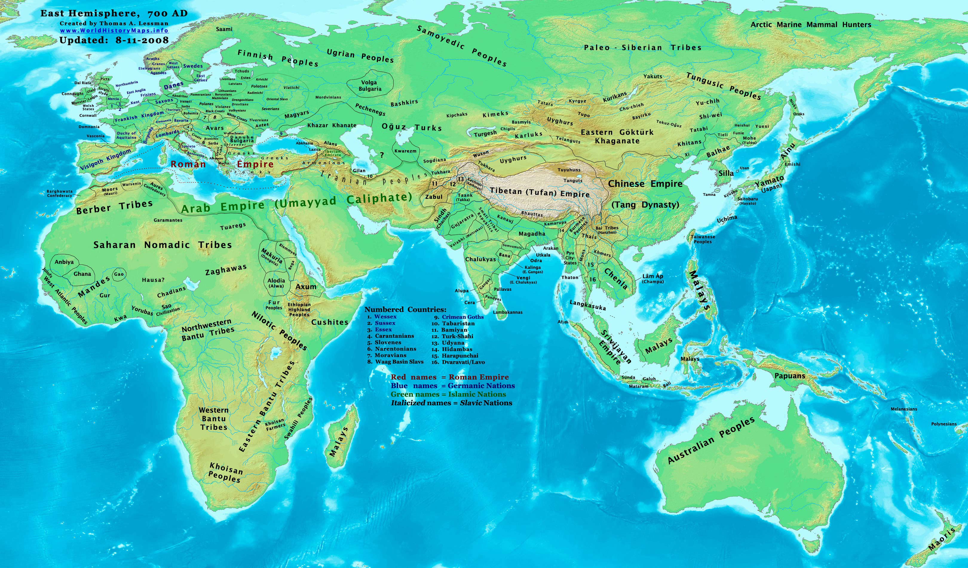 Map of the 8th-century world from Wikimedia Commons