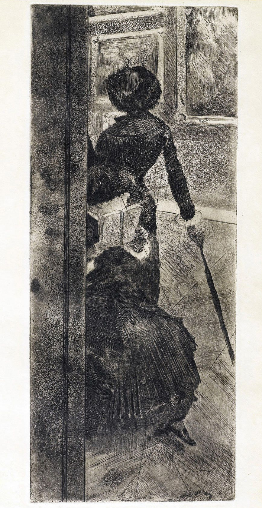 Edgar Degas Au Louvre la peinture (Mary Cassatt) c1879-1880 - Strichätzung mit Abdecklack, Aquatinta
