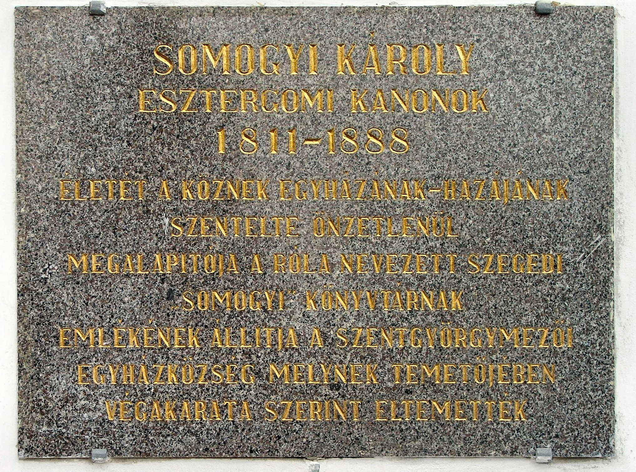 Somogyi Károly síremléke (http://upload.wikimedia.org/wikipedia/commons/2/21/Esztergom_-_Somogyi_Karoly_emlektabla.JPG)
