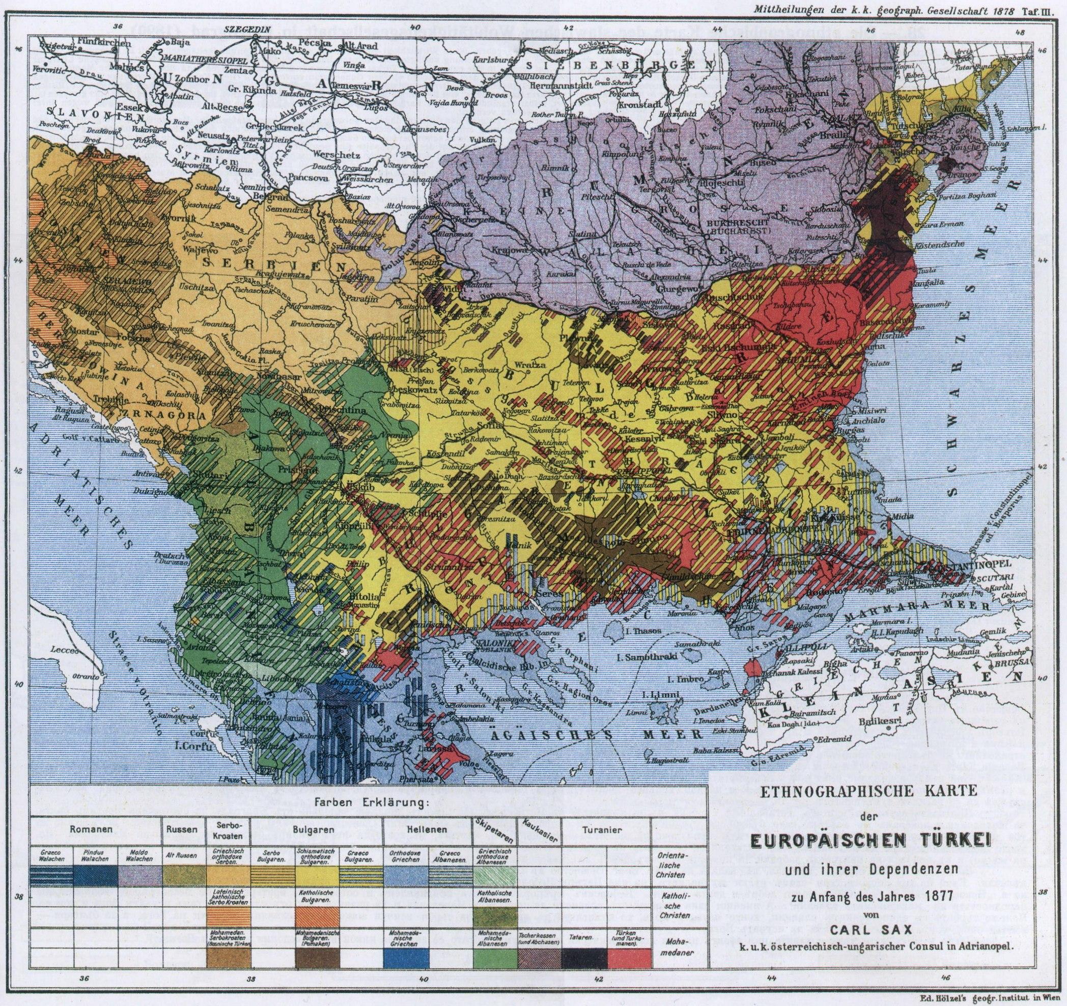 Ethnographic map of European Turkey 1877 Maps on the Web – Turkey on the Map of Europe