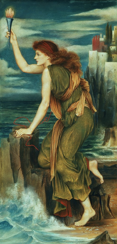 An image of the painting 'Hero Holding the Beacon for Leander' by Evelyn De Morgan from 1885.