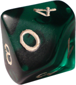 Photo of a common 10-sided die