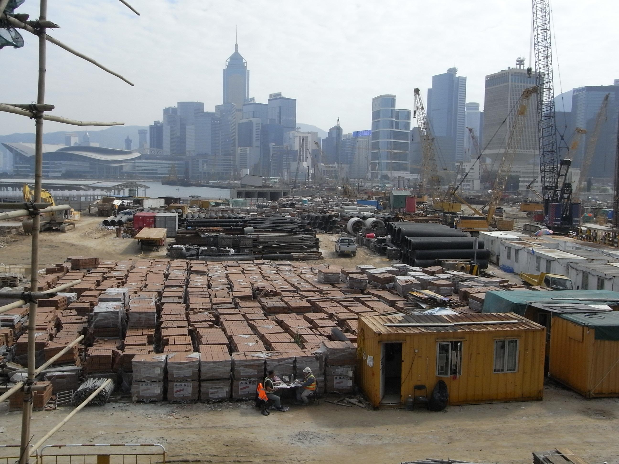Building Construction Site : File hk central piers construction site building material