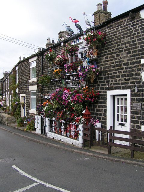 Home improvements, Hayfield - geograph.org.uk - 160695.jpg English: Home improvements, Hayfield. This eccentrically decorated house is a well-known