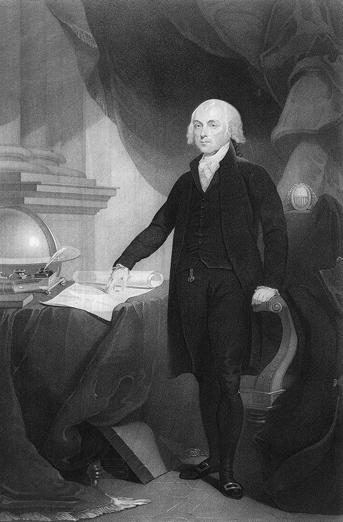 Image result for public domain illustration of james madison