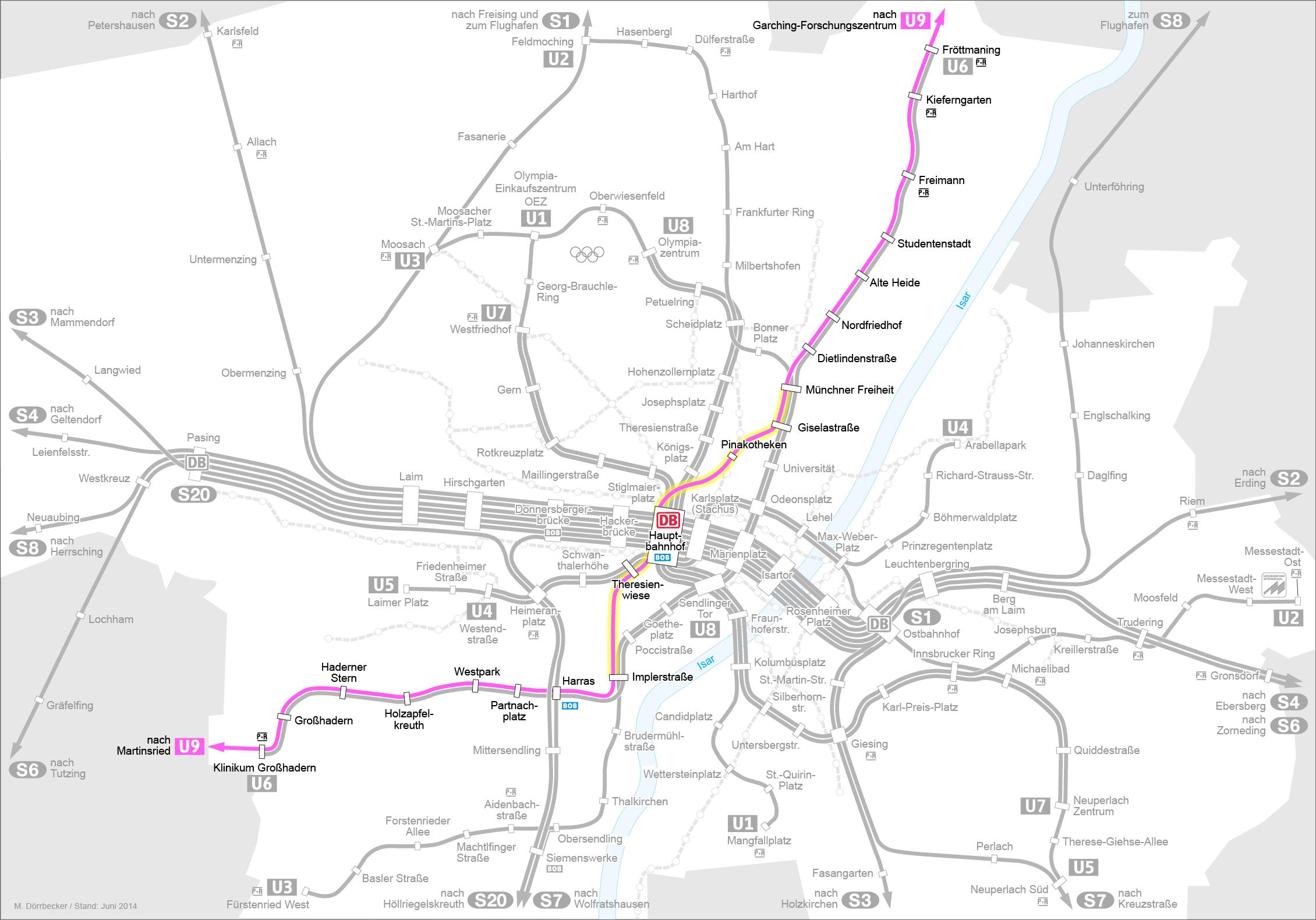 u bahn karte münchen File:Karte der geplanten U9 Spange der U Bahn München.png   Wikipedia u bahn karte münchen