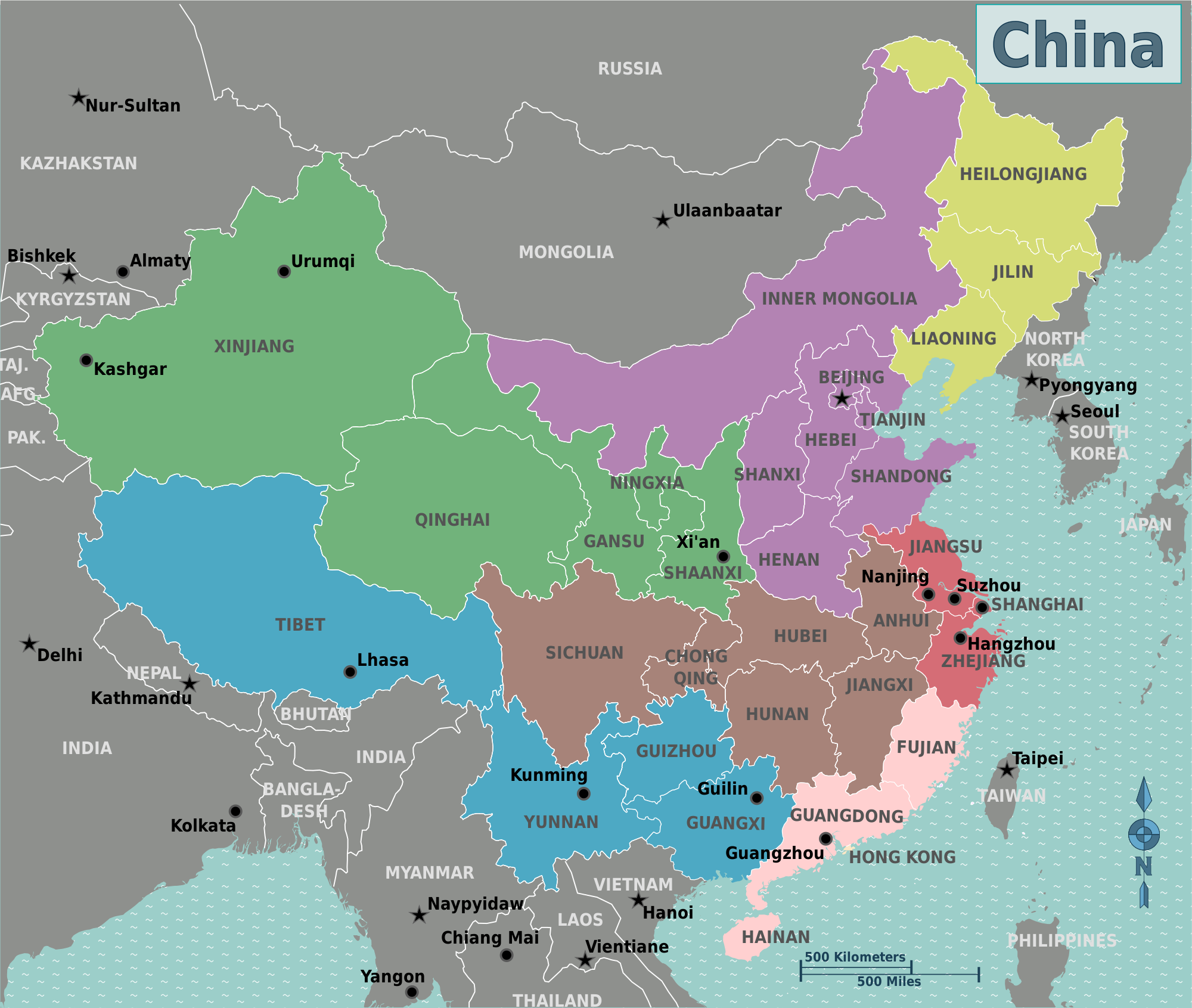 China Map With Cities In English - China political map in english