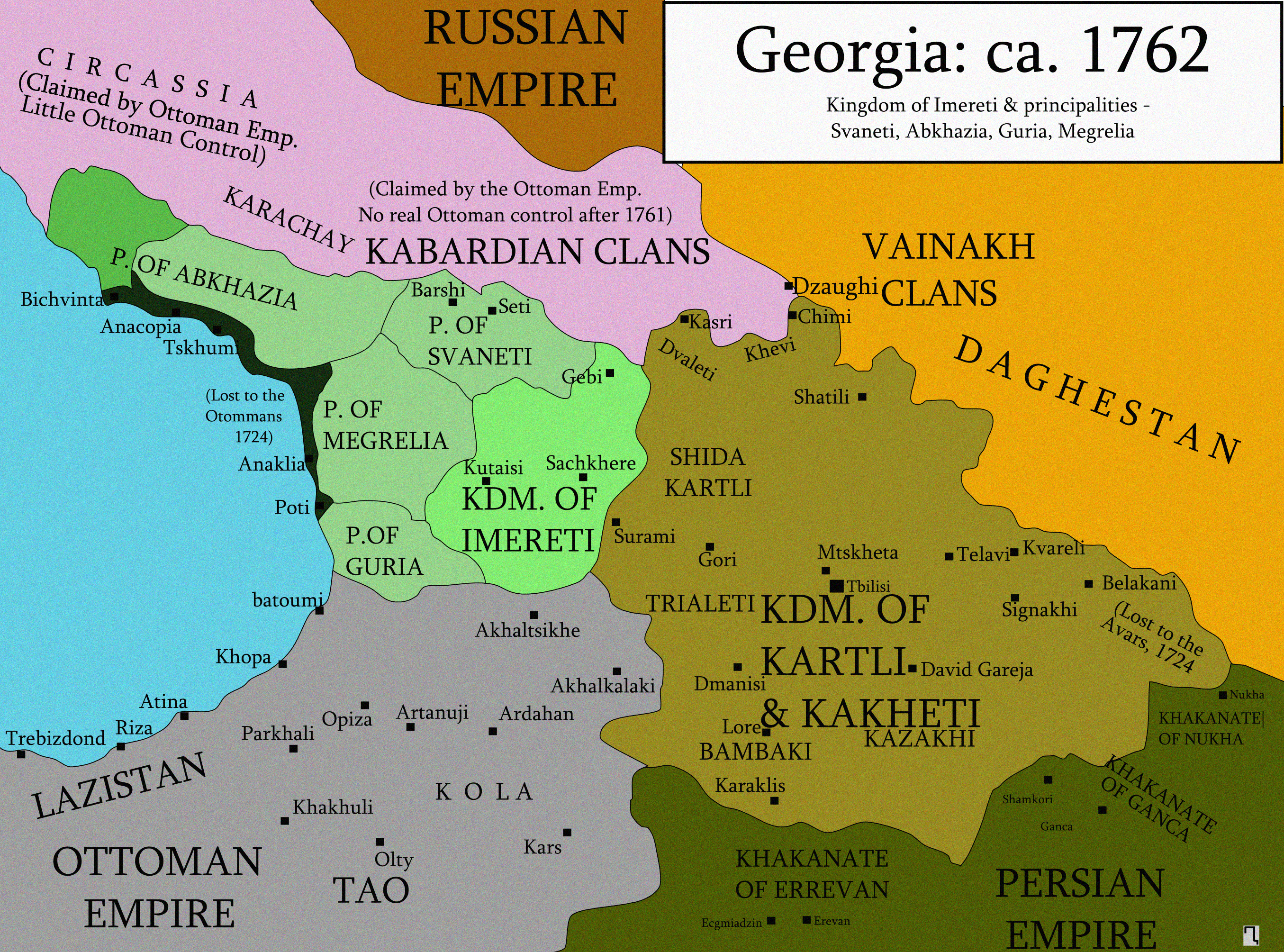Georgia Abkhazia Alania And Armenia Historical Maps Monarchy - Georgia kakheti map