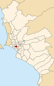 Location of Lince in the Lima province