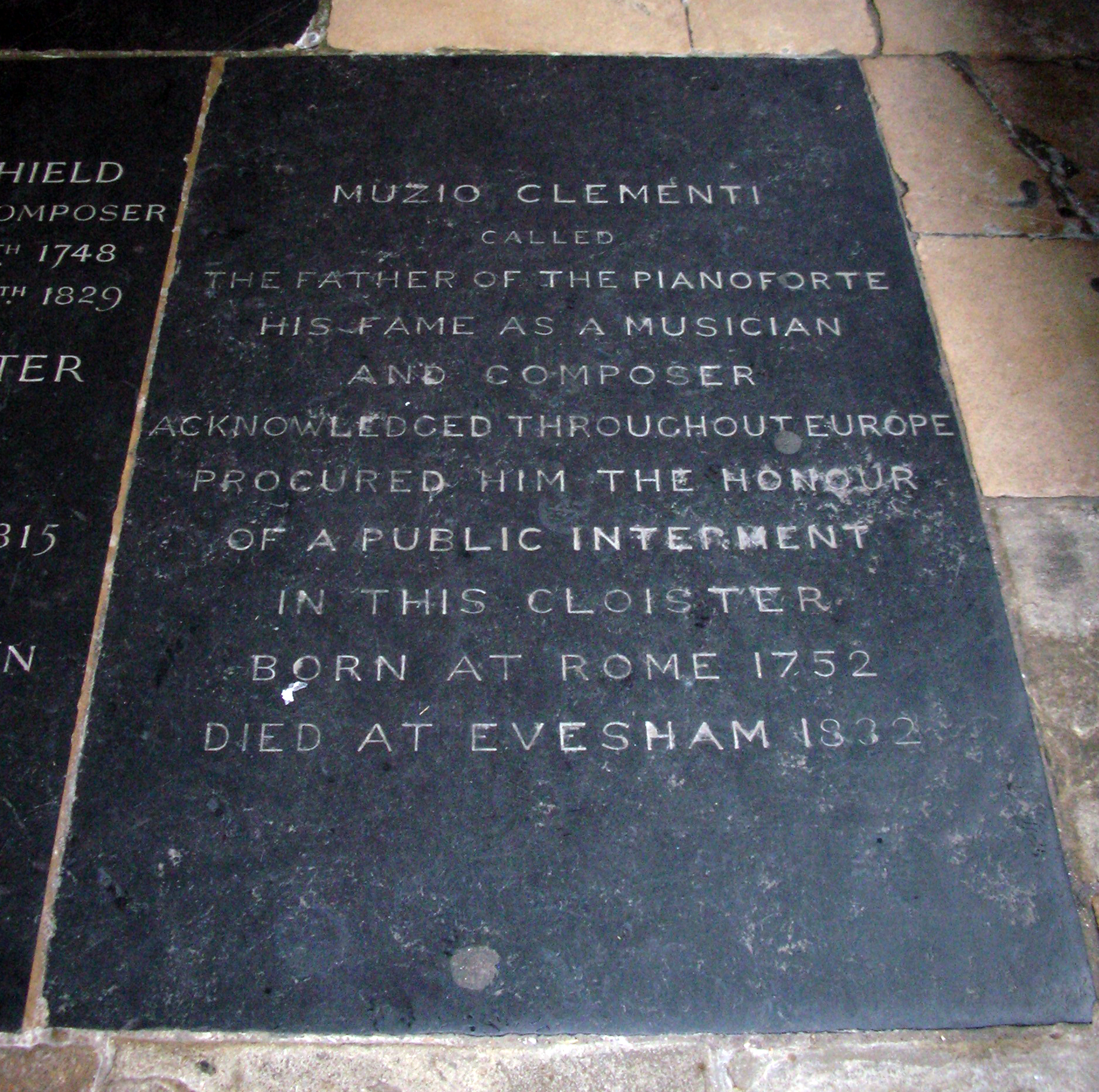 Burial stone in Westminster Abbey