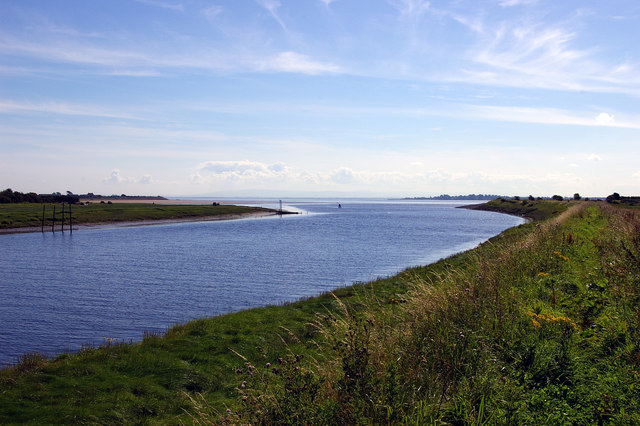 Mouth of the River Annan Annan Waterfoot can be seen on the left and Barnkirk Point on the right bank.