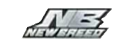 "A text-only logo, featuring the letters ""NB"" on top, and the words ""New Breed"" directly underneath. The lettering is silver and outlined in black."