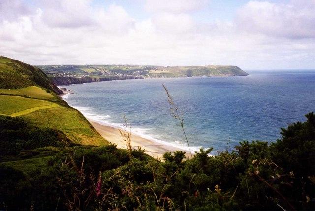 Penbryn Beach from coastal path - geograph.org.uk - 629983