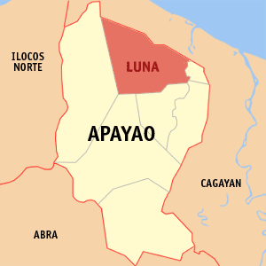 Map of Apayao showing the location of Luna