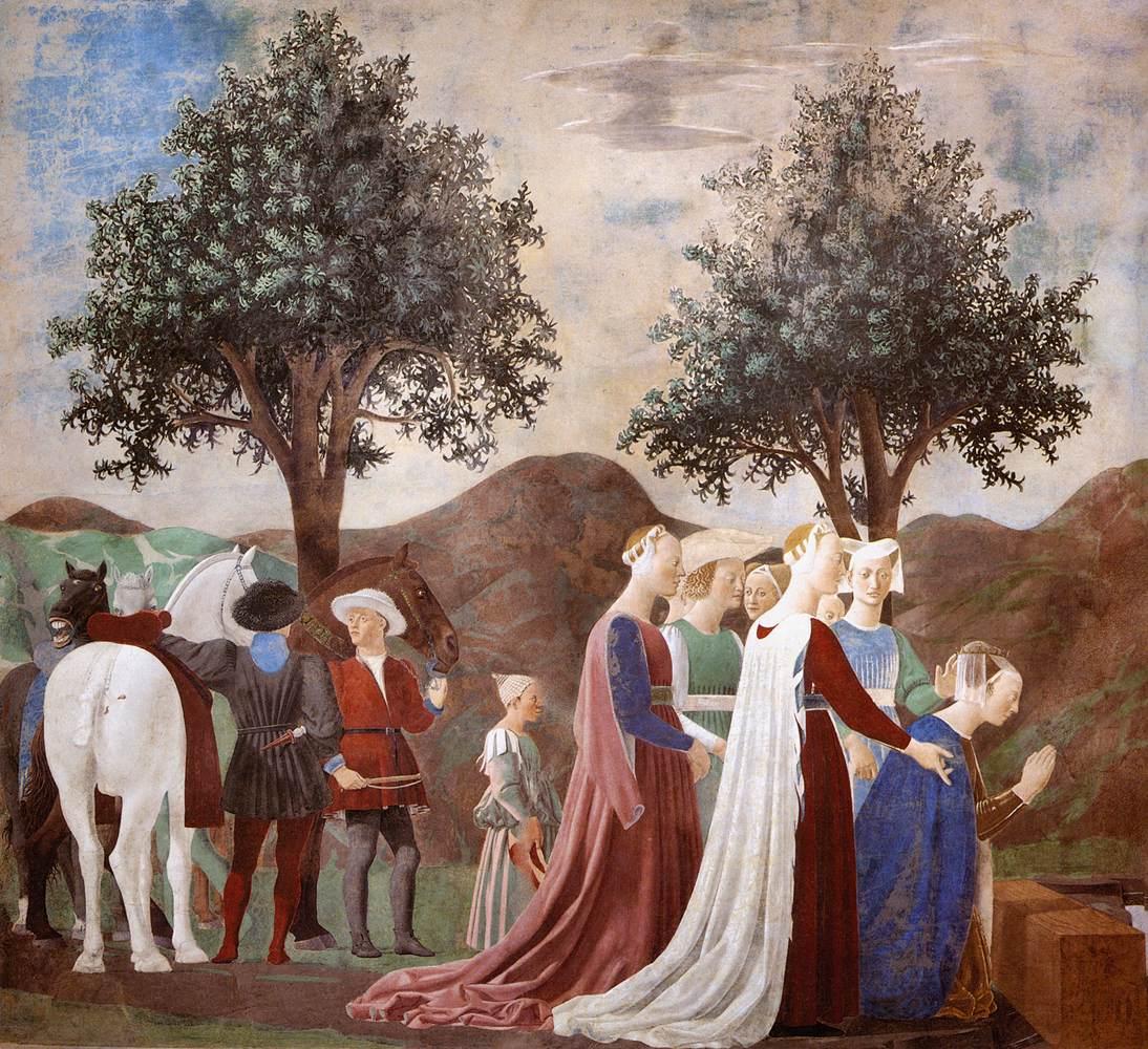 Piero della Francesca,Adorazione della Croce (parete destra), affresco, Basilica di San Francesco, Arezzo