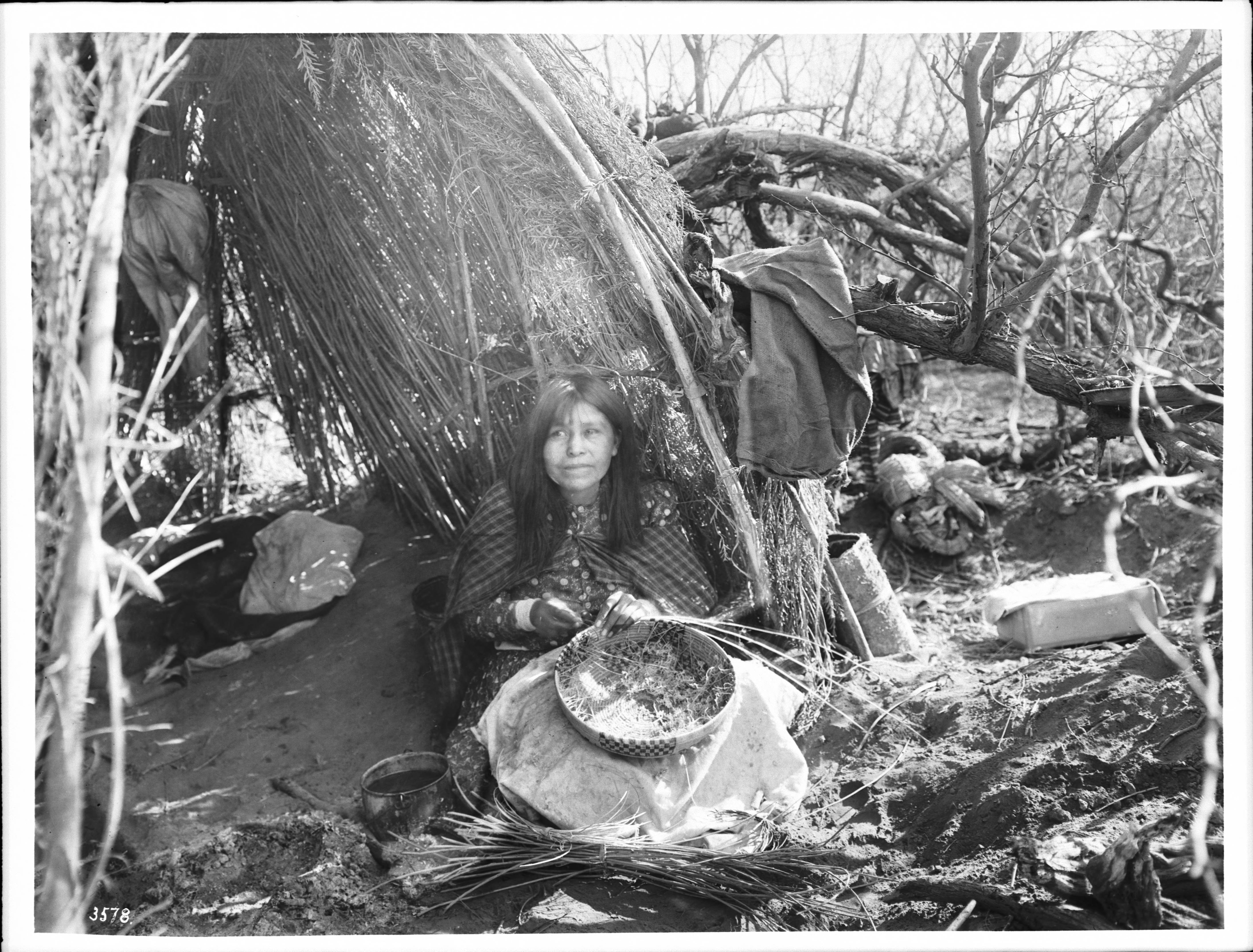 File Portrait Of An Apache Indian Woman Making Baskets Ca