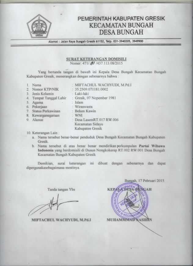 Berkassurat Keterangan Domisili Partai Wibawa Indonesiajpg