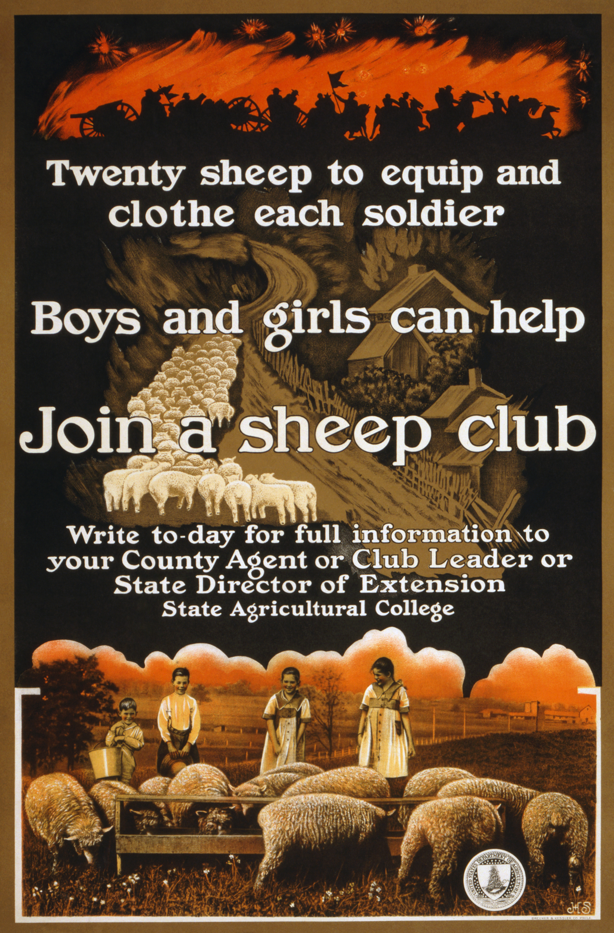 A World War I-era poster sponsored by the United States Department of Agriculture encouraging children to raise sheep to provide needed war supplies.