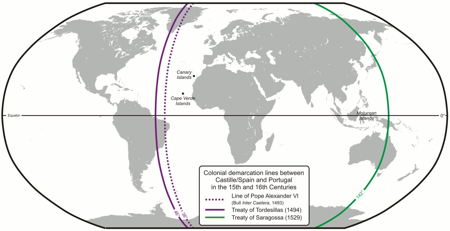 The 1494 Tordesilhas Treaty meridian dividing the world between Portugal and Castille (modern-day Spain; purple) and the Moluccas antimeridian (green), set at the Treaty of Zaragoza, 1529.