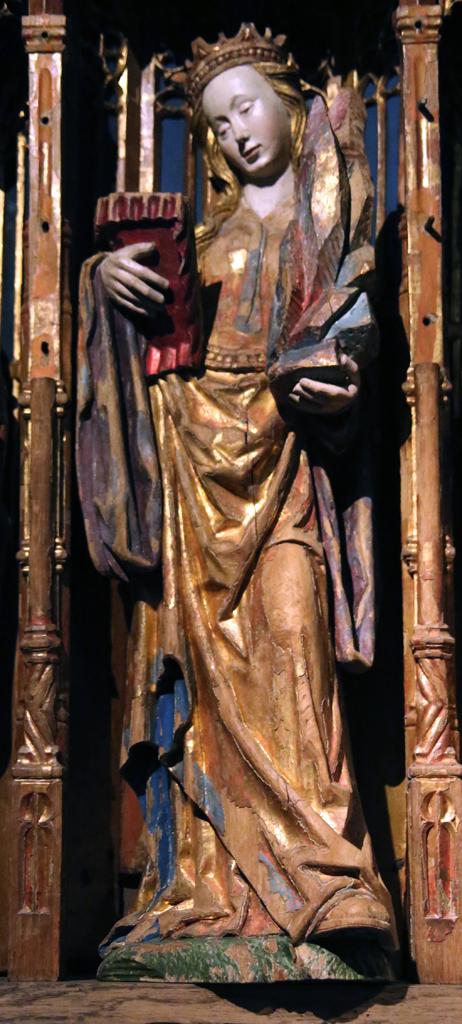 Den hellige Sunniva. Fra et alterskap (1520-25) i Sandtorv kirke på Austevoll i Hordaland (revet rundt 1650), nå i Bergen Museum