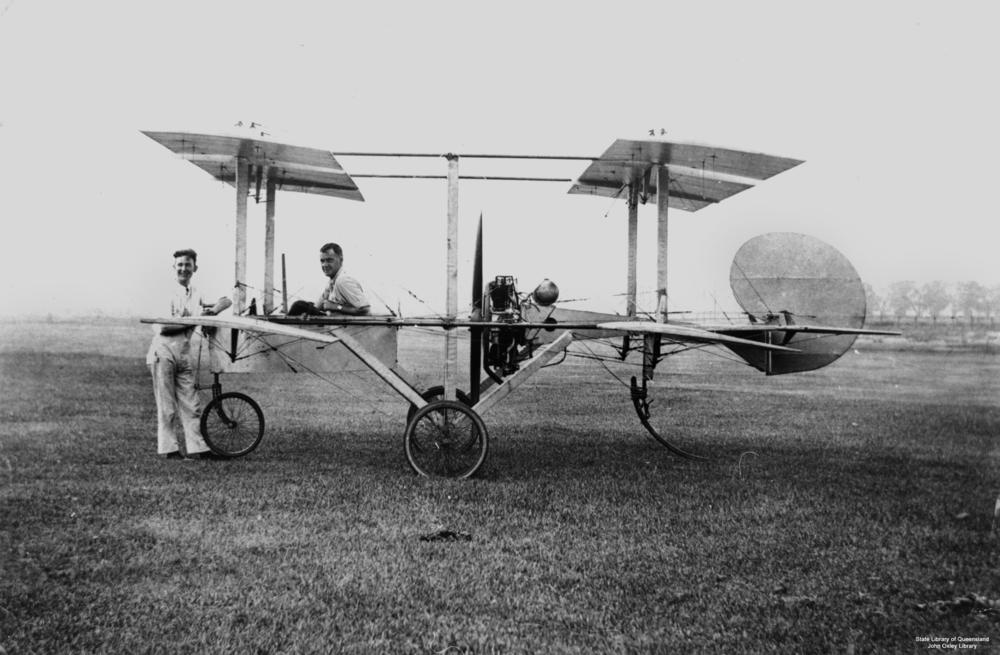 Statelibqld Two Men With A Single Engine Aeroplane C on How An Aeroplane Engine Works