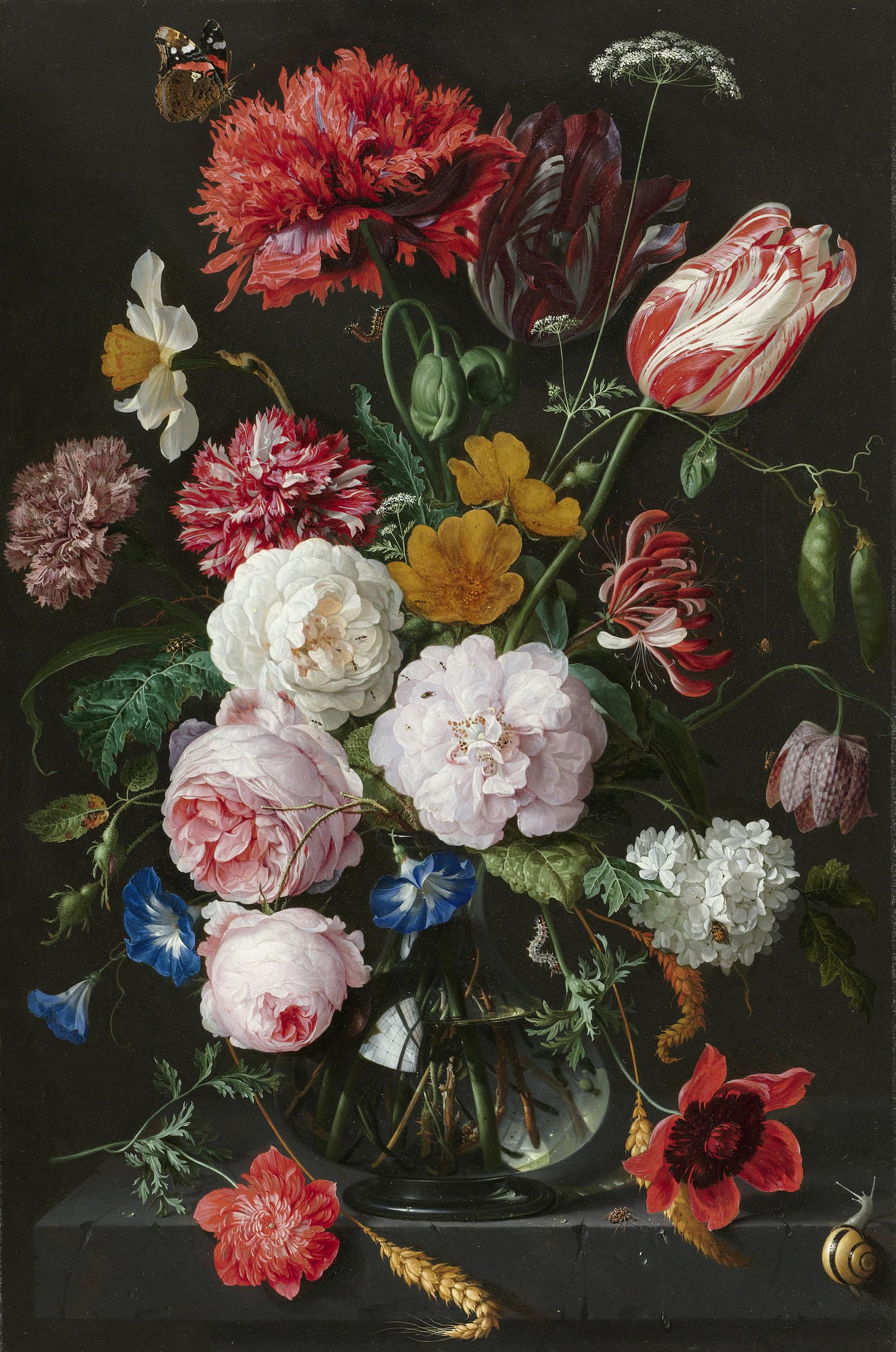 Fabulous Bestand:Stilleven met bloemen in een glazen vaas Rijksmuseum SK-C @QX95