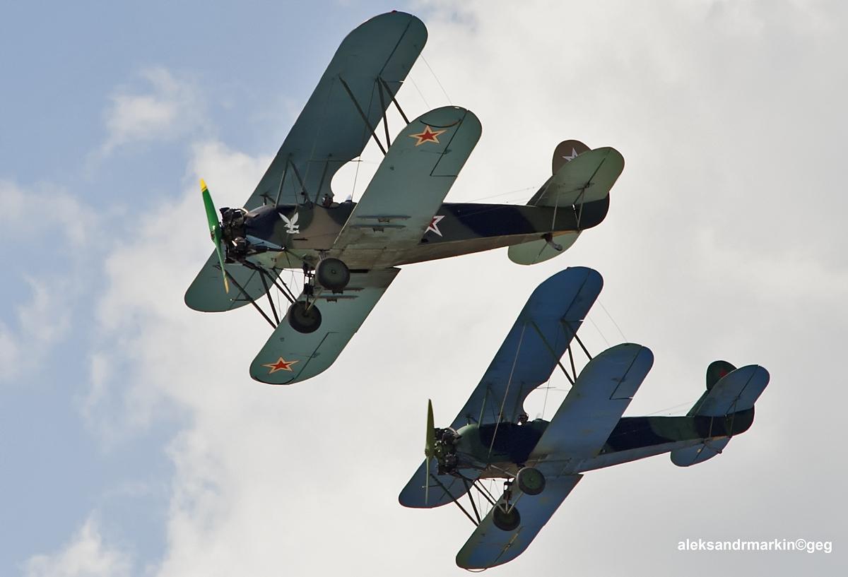 Two PO-2 in flight. (9363769823).jpg