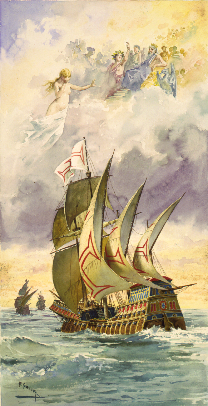 "1.000 Reis Portugal 1898 Carlos I Y Amelia ""Lanzarote dedit"" Vasco_da_Gama's_ship"