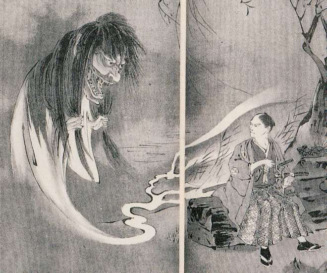 妖怪の絵画久保田米僊縊鬼