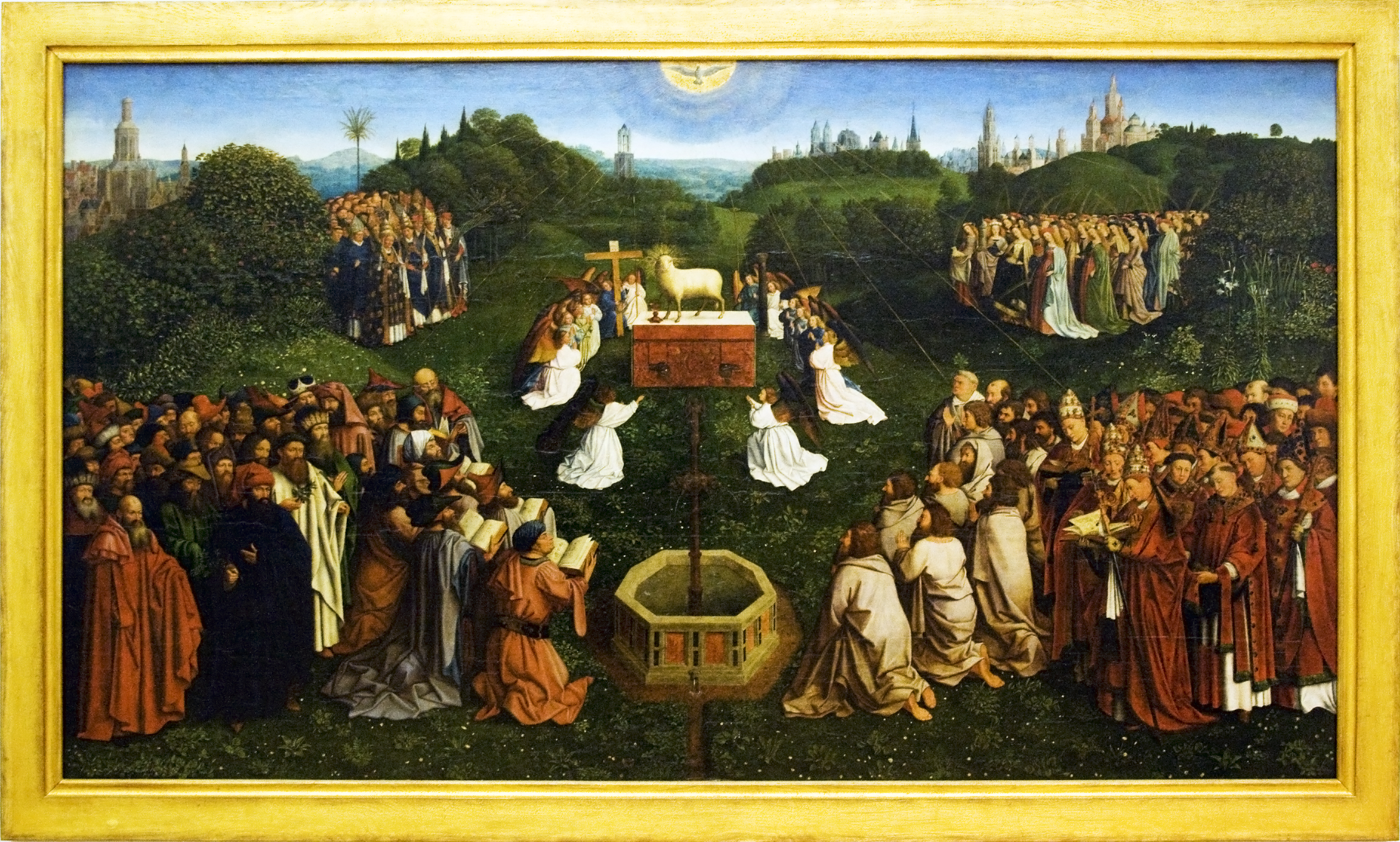 adoration of the lamb The ghent altarpiece , also known as the adoration of the mystic lamb , is one of the greatest masterpieces of european painting after da vinci's mona lisa , it is the world's second most visited work of art, an.